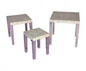 Demeure et Jardin - tables gigogne laque coquille d'oeuf - Tavolini Sovrapponibili