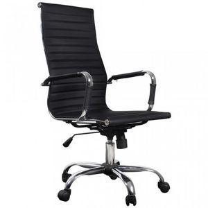 WHITE LABEL - fauteuil de bureau blanc et chromé - Poltrona Ufficio