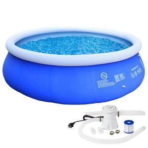 WHITE LABEL - piscine pataugeoire avec pompe 305 x 76 cm - Piscina Gonfiabile