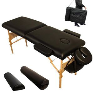WHITE LABEL - table de massage 7,5 cm épaisseur noir - Tavolo Da Massaggio
