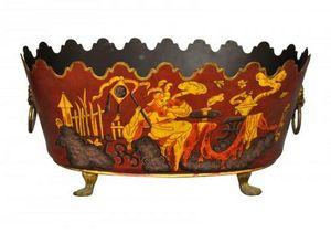 Demeure et Jardin - jardiniere rouge et or en tôle peinte taille moyen - Fioriera