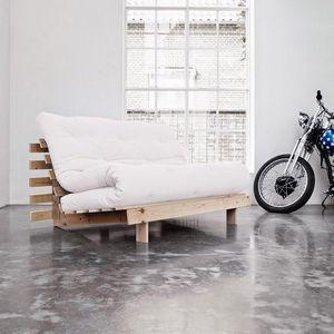 WHITE LABEL - canapé bz style scandinave roots futon écru coucha - Divano Letto Con Apertura A Scorrimento