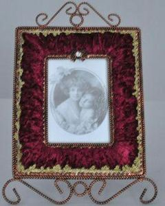 Demeure et Jardin - cadre rectangulaire velours rouge - Cornice