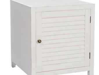 WHITE LABEL - table de chevet 1 porte blanc - boudebois - l 50 x - Comodino