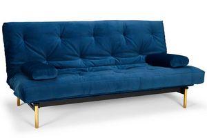 WHITE LABEL - innovation living clic clac frigga bleu saphire d - Divano Letto Clic Clac (apertura A Libro)