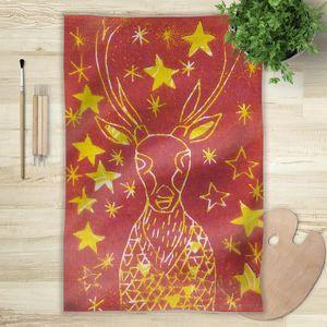 la Magie dans l'Image - foulard cerf etoilé rouge - Foulard Quadrato