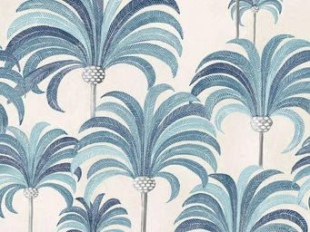 THEVENON - la palmeraie bleu azur fond cra¨me - Tessuto D'arredamento
