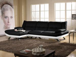 WHITE LABEL - canapé cuir angle miranda - Divano Componibile