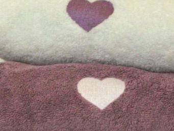 Liou - drap de douche mon coeur parme - Asciugamani