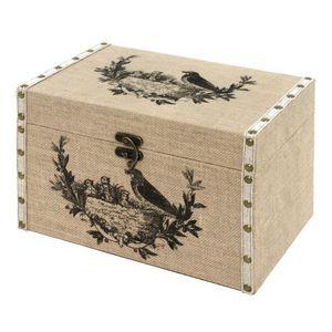 CHEMIN DE CAMPAGNE - coffre malle de rangement bois toile de jute 34x22 - Baule