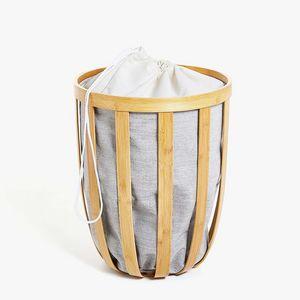 Zara Home - panier à linge bambou tissu intérieur - Cestino Biancheria