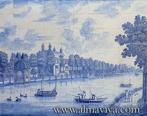 Almaviva - paysage de rivière - Pannello Di Ceramica