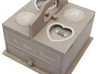 Antic Line Creations - boîte à couture en bois eloïse 25x25x21,5cm - Scatola Da Cucito