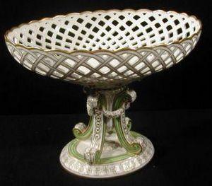 Demeure et Jardin - grande coupe montée vert tendre 1900 - Coppa Decorativa
