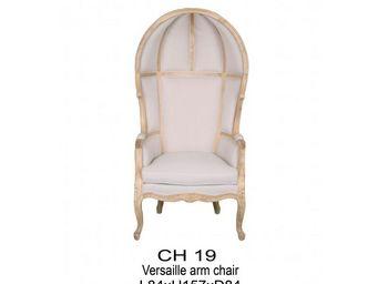DECO PRIVE - fauteuil carrosse de mariage en tissu écru et bois - Poltrona