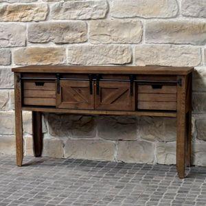 CHEMIN DE CAMPAGNE - meuble console table de drapier industriel bois fe - Tavolo Da Tappezziere