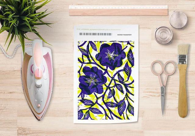 la Magie dans l'Image - Trasferibile-la Magie dans l'Image-Papier transfert Fleurs Bleues